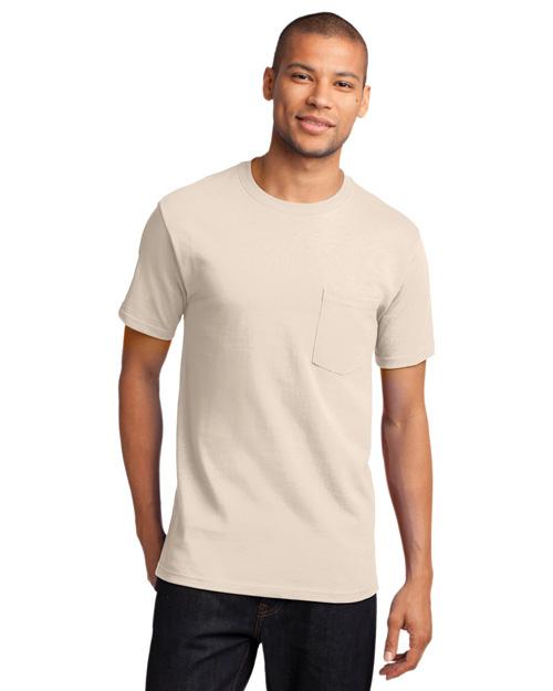 Port & Company PC61P Men 100% Cotton T Shirt With Pocket Natural at bigntallapparel
