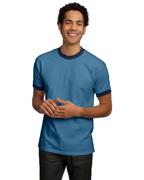 Port & Company PC61R Men Ringer T Shirt Carolina Blue/Navy at bigntallapparel