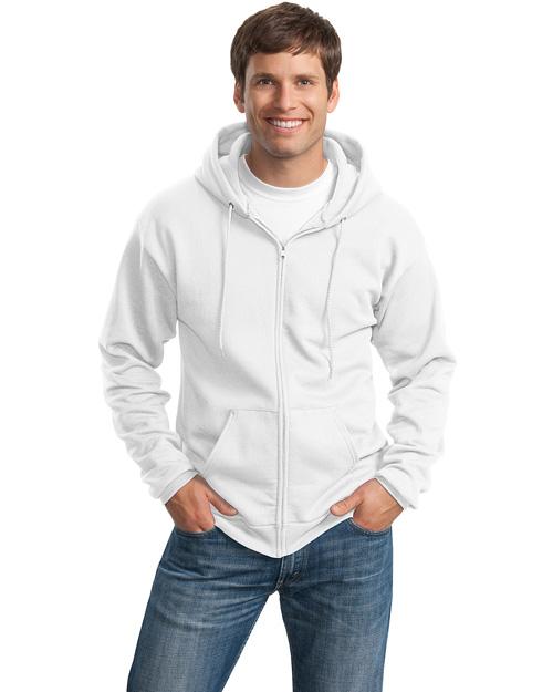 Port & Company PC78ZH Men 7.8 Oz Full Zip Hooded Sweatshirt White at bigntallapparel