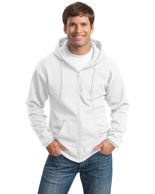 Port & Company PC90ZHT Men Tall Ultimate Fullzip Hooded Sweatshirt White at bigntallapparel