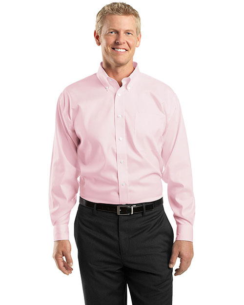 Red House RH24 Men Pinpoint Oxford Dress Shirt Pink at bigntallapparel