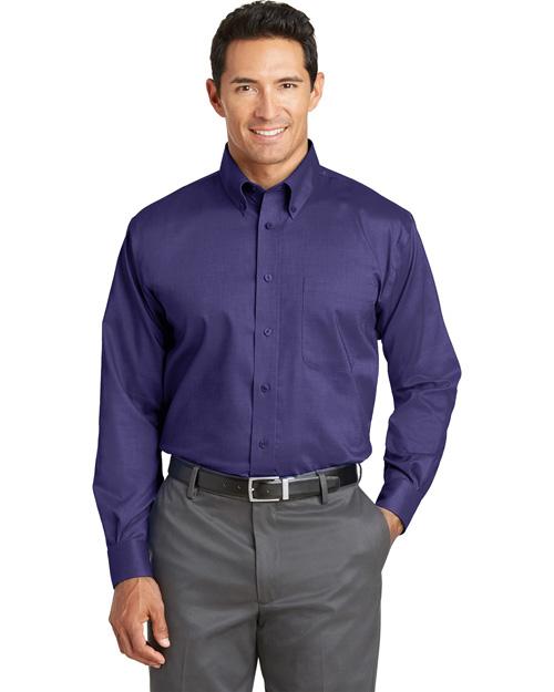Red House TLRH37 Men Tall Nailhead Noniron Buttondown Shirt Dark Purple at bigntallapparel