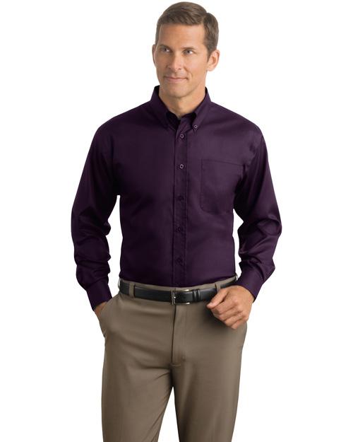 Red House RH38 Men Herringbone Non Iron Button Down Shirt Bermuda Purple at bigntallapparel