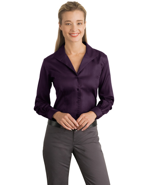 Red House RH48 Women Herringbone Non-Iron Button-Down Shirt Bermuda Purple at bigntallapparel