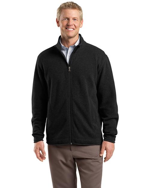 Red House RH54 Men Sweater Fleece Full Zip Jacket Black at bigntallapparel