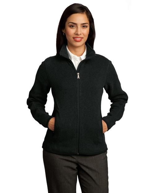Red House RH55 Women Sweater Fleece Full-Zip Jacket Black at bigntallapparel