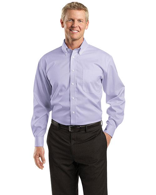Red House RH60 Men Dobby Non Iron Button Down Shirt Lavender at bigntallapparel