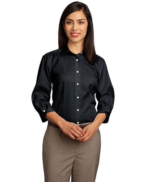 Red House RH61 Women 3/4-Sleeve Dobby Non-Iron Button-Down Shirt Black at bigntallapparel