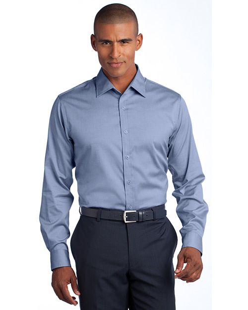 Red House RH62 Men Slim Fit Non-Iron Pinpoint Oxford blue at bigntallapparel