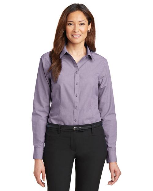 Red House RH67 Women Mini-Check Non-Iron Button-Down Shirt Bermuda Purple at bigntallapparel