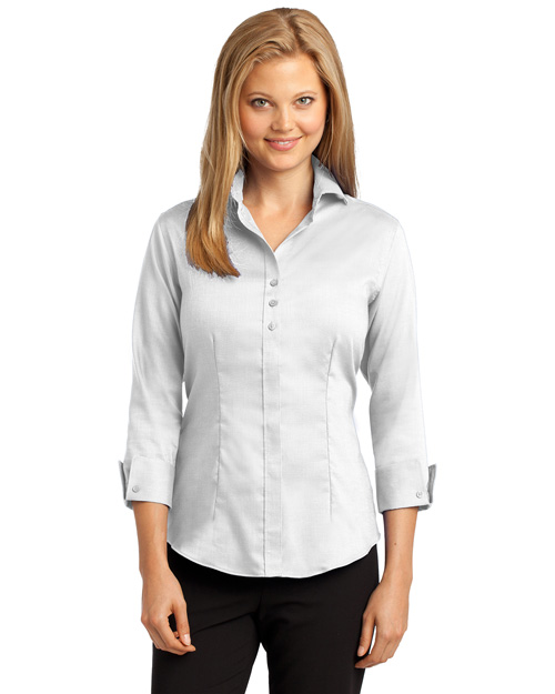 Red House RH69 Women 3/4sleeve Nailhead Noniron Buttondown Shirt White at bigntallapparel