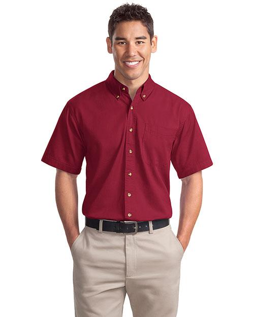 Port Authority S500T Men Short Sleeve Twill Shirt Bright Burgundy at bigntallapparel