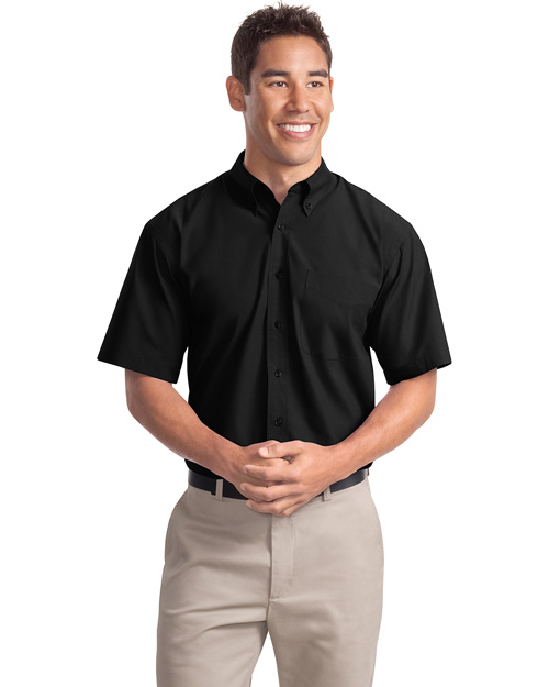 Port Authority S507 Men Short Sleeve Easy Care Soil Resistant Dress Shirt Black at bigntallapparel