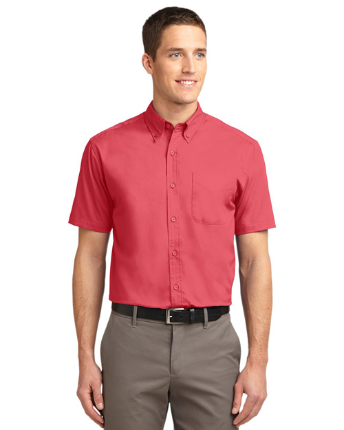 Port Authority S508 Men Short Sleeve Easy Care Dress Shirt Hibiscus/Hibiscus at bigntallapparel