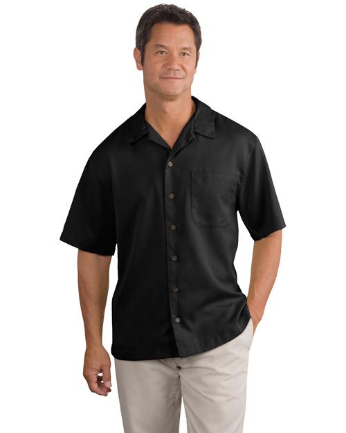 Port Authority S535 Men Easy Care Camp Shirt Black at bigntallapparel