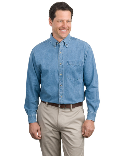 Port Authority S600 Men Long Sleeve Denim Shirt Faded Denim at bigntallapparel