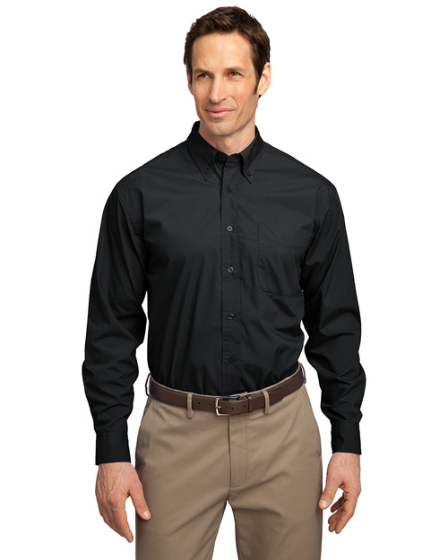 Port Authority S607 Men Long Sleeve Easy Care Soil Resistant Dress Shirt Black at bigntallapparel