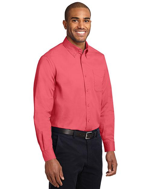 Port Authority S608 Men  Long Sleeve Easy Care Dress Shirt Hibiscus at bigntallapparel