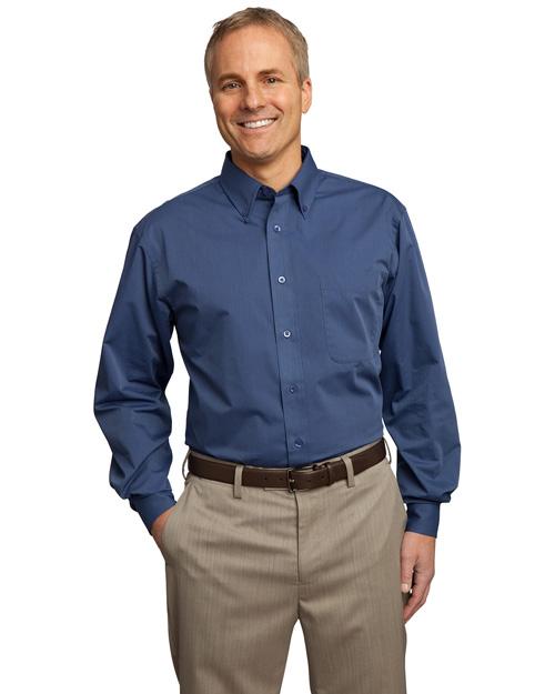 Port Authority TLS613 Men Tall Tonal Pattern Easy Care Shirt blue at bigntallapparel