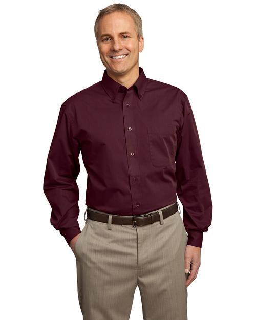 Port Authority Signature S613 Men Tonal Pattern Easy Care Shirt Maroon at bigntallapparel