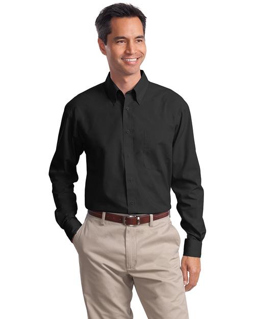 Port Authority Signature S632 Men Long Sleeve Value Poplin Shirt Black at bigntallapparel