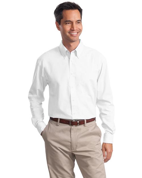 Port Authority Signature S632 Men Long Sleeve Value Poplin Shirt White at bigntallapparel