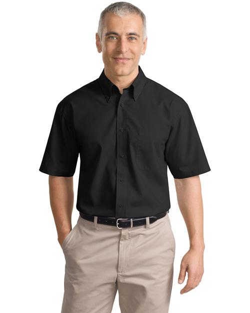 Port Authority Signature S633 Men Short Sleeve Value Poplin Shirt Black at bigntallapparel