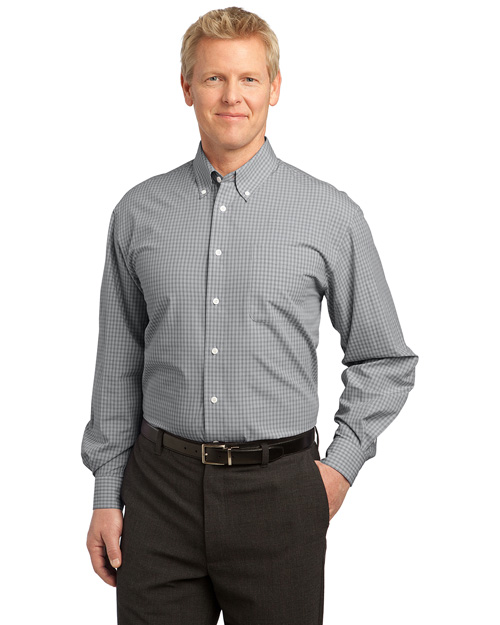Port Authority S639 Men Plaid Pattern Easy Care Shirt Charcoal at bigntallapparel