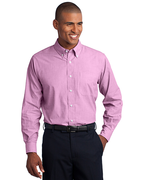 Port Authority S640 Men Crosshatch Easy Care Shirt Pink Orchid at bigntallapparel