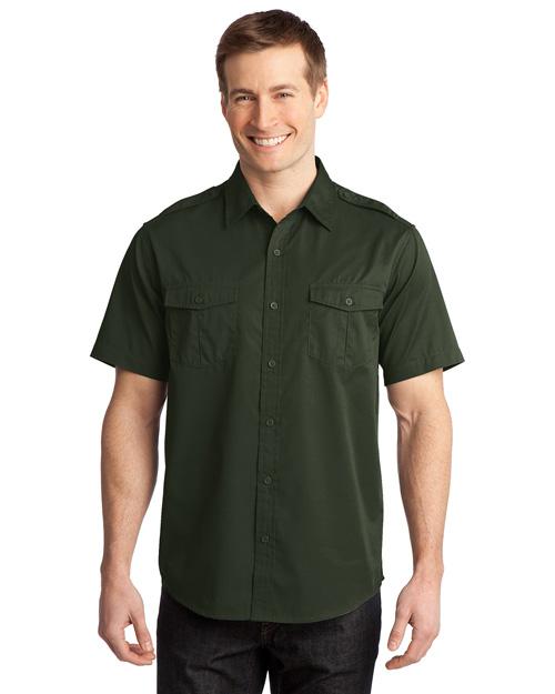 Port Authority S648 Men Stainresistant Short Sleeve Twill Shirt Basil Green at bigntallapparel