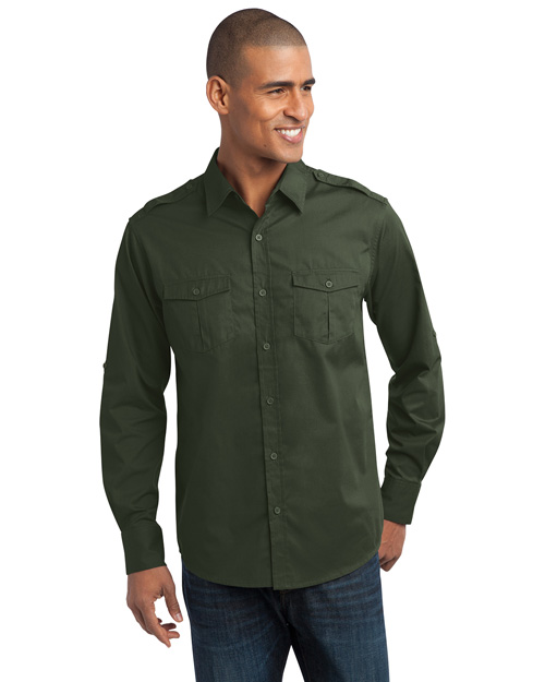 Port Authority S649 Men Stainresistant Roll Sleeve Twill Shirt Basil Green at bigntallapparel