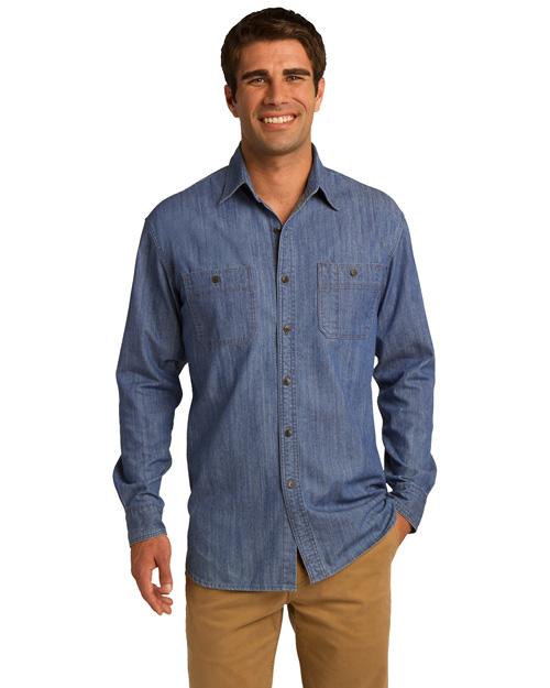 Port Authority S652 Men Denim Shirt With Patch Pockets Lt Indigo at bigntallapparel