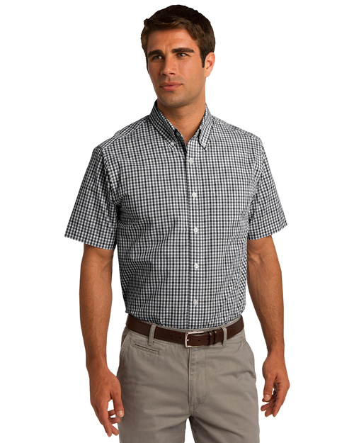 Port Authority S655 Men Short Sleeve Gingham Easy Care Shirt Black/Charcoal at bigntallapparel