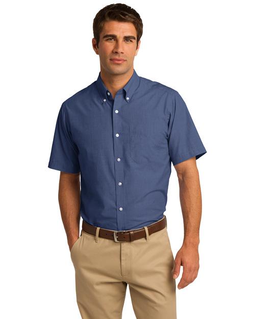 Port Authority S656 Men Short Sleeve Crosshatch Easy Care Shirt Deep Blue at bigntallapparel