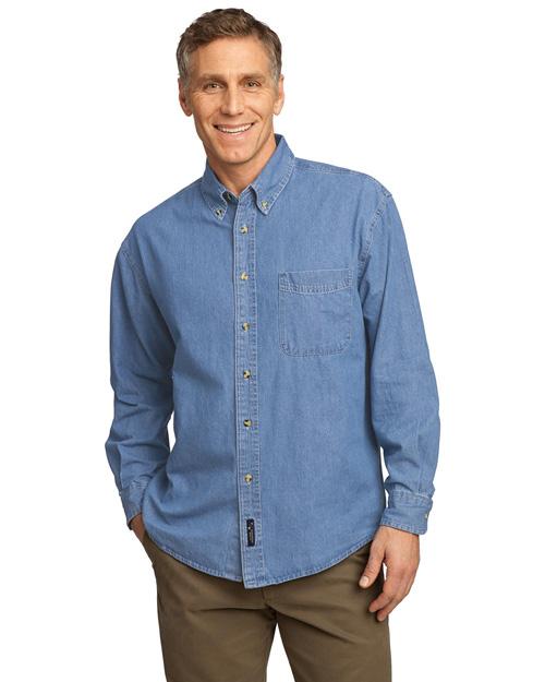 Port & Company SP10 Men Long Sleeve Value Denim Shirt Faded Blue at bigntallapparel