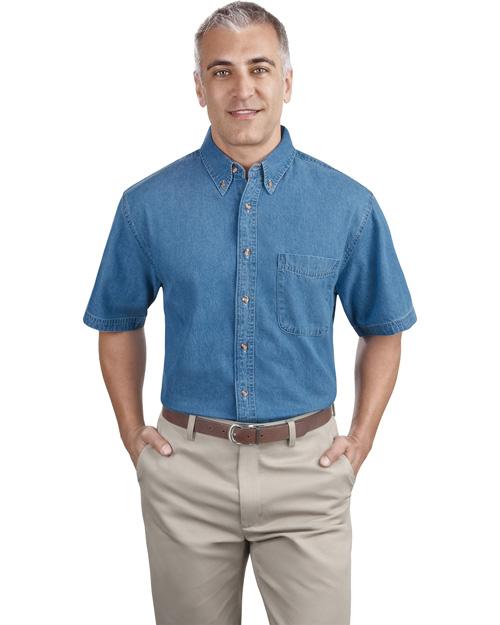 Port & Company SP11 Men Short Sleeve Value Denim Shirt Faded Blue at bigntallapparel