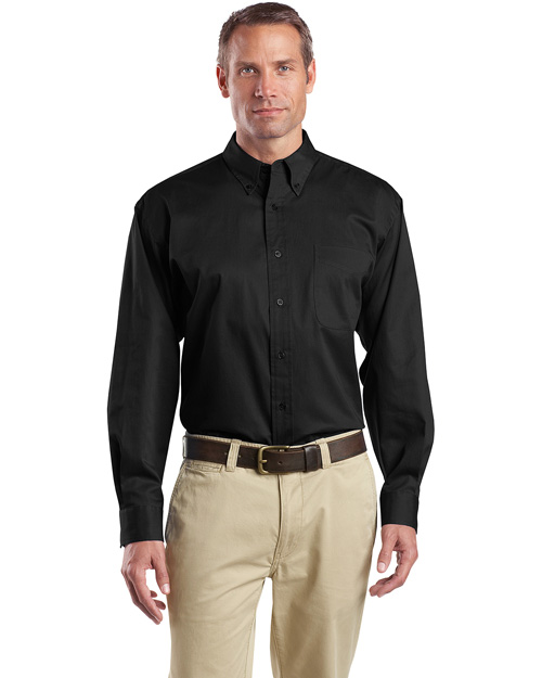 Cornerstone SP17 Men Long Sleeve Super Pro Twill Shirt Black at bigntallapparel