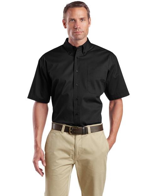 Cornerstone SP18 Men Short Sleeve Super Pro Twill Shirt Black at bigntallapparel