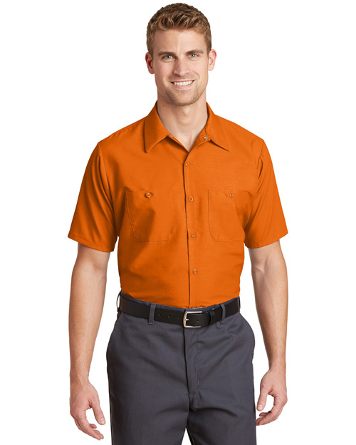 Cornerstone SP24 Men Short Sleeve Industrial Work Shirt Orange at bigntallapparel