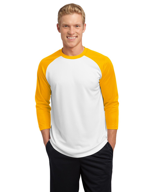 Sport-Tek ST205 Men Posicharge Baseball Jersey White/Gold at bigntallapparel
