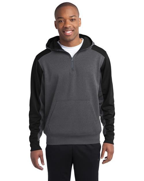 Sport-Tek ST249 Men Colorblock Tech Fleece 1/4zip Hooded Sweatshirt Grph Hea/Black at bigntallapparel