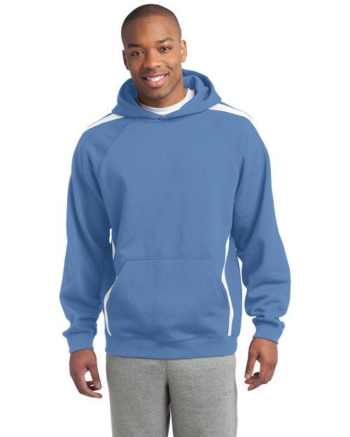 Sport-Tek ST265 Men Sleeve Stripe Pullover Hooded Sweatshirt Car Blue/White at bigntallapparel