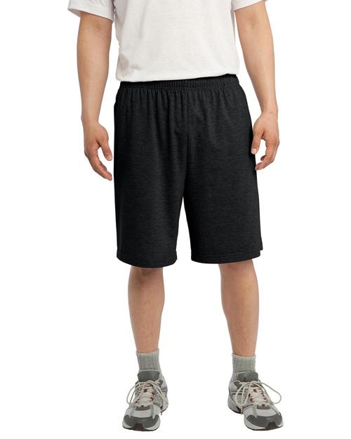 Sport-Tek ST310 Men Jersey Knit Short With Pockets Black at bigntallapparel