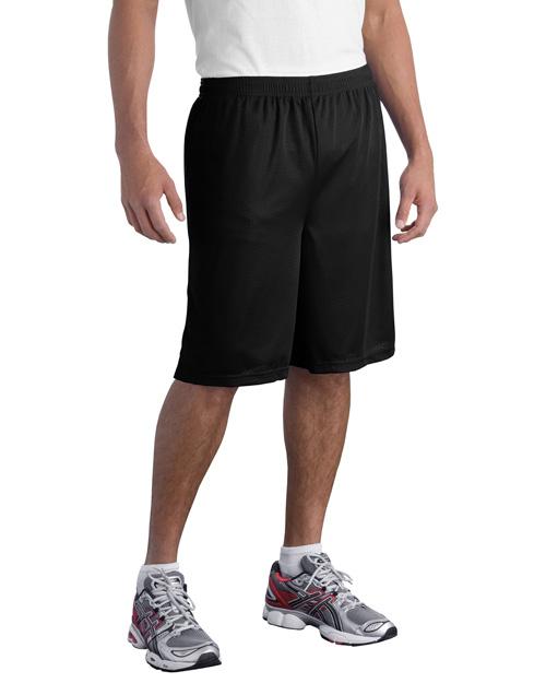 Sport-Tek ST515 Men Long Posicharge Classic Mesh ™  Short Black at bigntallapparel
