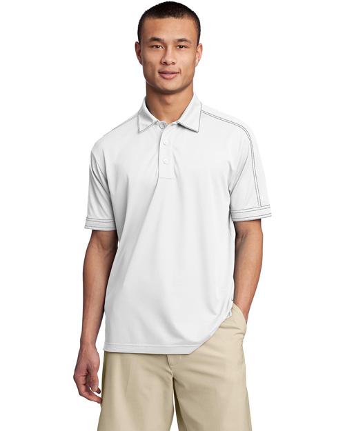 Sport-Tek ST659 Men Contrast Stitch Micropique Sport-Wicksport Shirt White at bigntallapparel