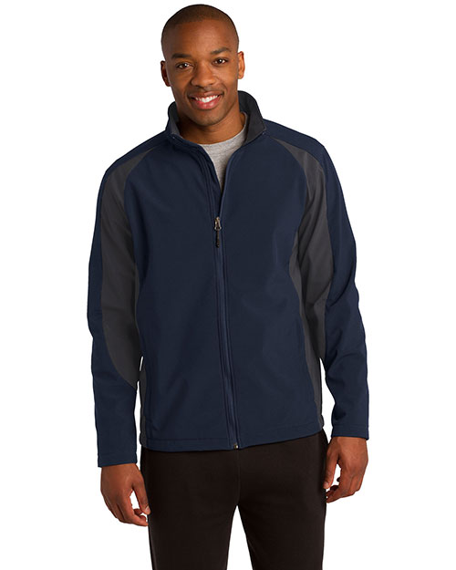 Sport-Tek ST970 Men Piped Tricot Track Jacket. Jst92 Tr Navy/Irn Gy at bigntallapparel