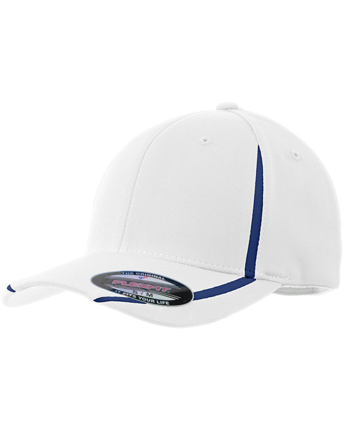 Sport-Tek STC16  Flexfit Performance Colorblock Cap White/True Navy at bigntallapparel