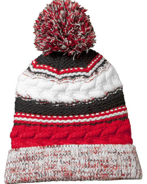 Sport-Tek STC21  Pom  Team Beanie Tr Red/Blk/Wht at bigntallapparel