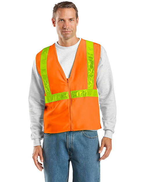 Port Authority SV01 Men Safety Work Vest Safety Orange/ Reflective at bigntallapparel