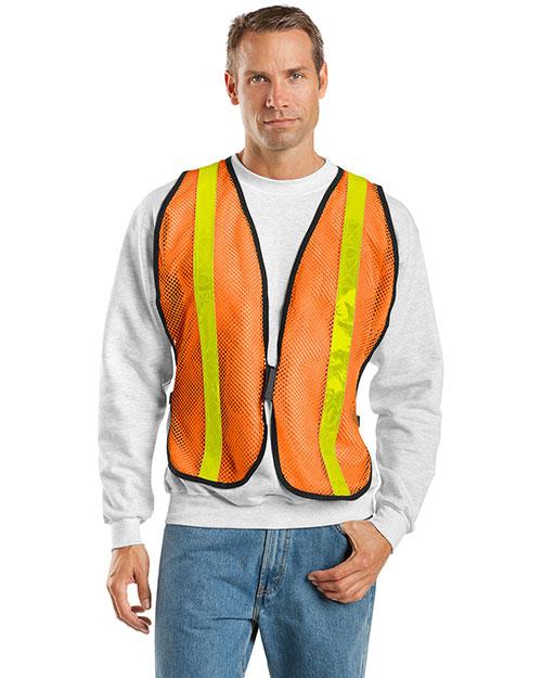 Port Authority SV02 Men Mesh Safety Work Vest Safety Orange at bigntallapparel